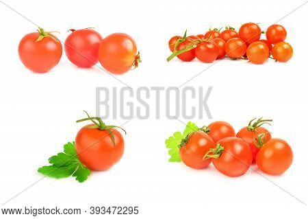 Collage Of Cherry Tomatoes Isolated On A White Background Cutout
