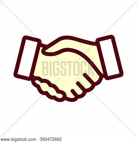 Handshake Line Icon. Hand Gesture Sign. Business Deal Palm Symbol. Quality Design Element. Linear St