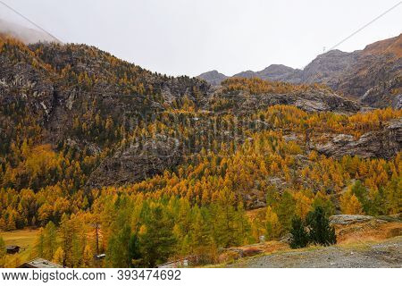 View Of Landscape Furi Mountain In Autumn Season From Cable Car In Zermatt, Swiss