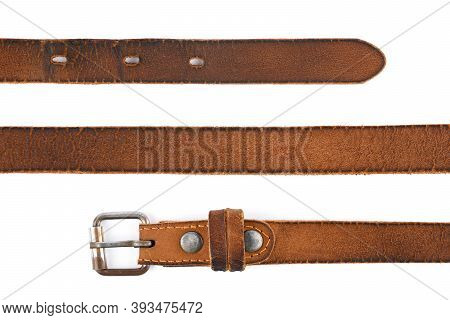 Old Leather Men\'s Belt On A White Background. Brown Belt For Men. Brown Leather Belt For Trousers A