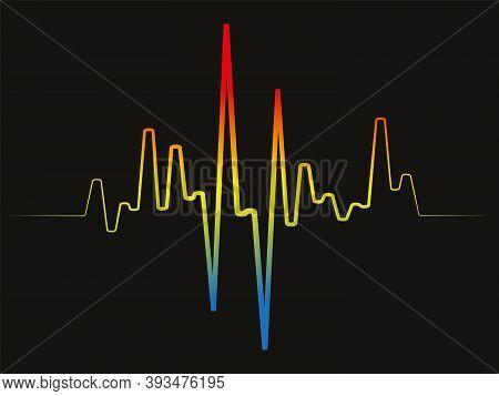Rainbow Pulse Player Logo. Colorful Equalizer Element On Black Background. Jpeg Sound Wave Illustrat