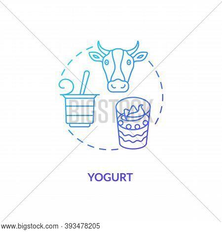 Yogurt Blue Gradient Concept Icon. Cow Milk Product. Lactose Parfait In Bowl. Nourishment Diet Food.