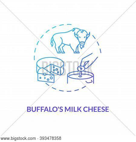 Buffalo Milk Cheese Blue Gradient Concept Icon. Mozzarella Product. Organic Farm Food With Lactose.