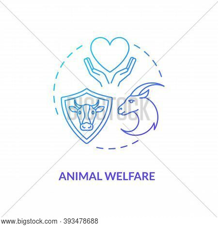 Animal Welfare Blue Gradient Concept Icon. Ranch Livestock Health. Veterinary Care. Cow, Goat Wellbe