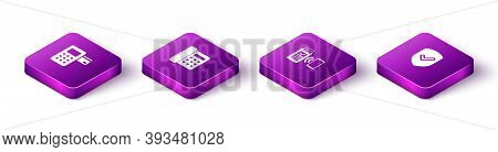 Set Isometric Pos Terminal, Telephone, Pos And Shield With Check Mark Icon. Vector