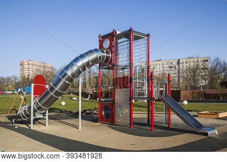 Children's Playground In A Park Built For The Development Of People And Entertainment.