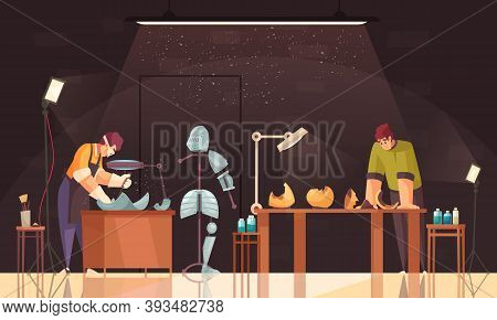 Artist Restorer Colored And Flat Composition With Two Men Work And Restore Armor Vector Illustration