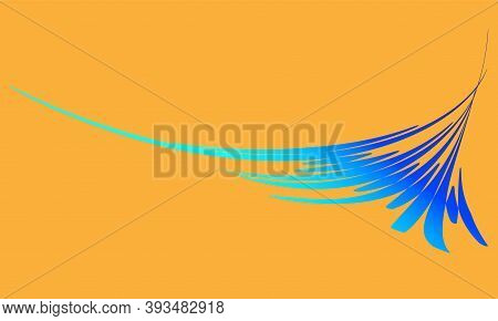 Blue Splash Dynamic Waves Element For Design. Colorful Abstract Banner In Minimalist Style. Bright J