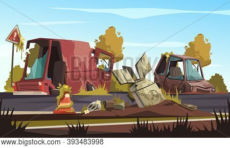 Post Apocalypse Background With  Destroyed Cars On Road After Military Action Cartoon Vector Illustr