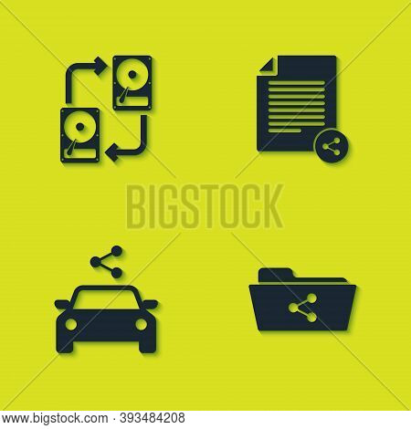 Set Data Exchange With Hhd, Share Folder, Car Sharing And File Icon. Vector