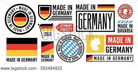 Large Set Of Made In Germany Labels, Signs. Germany Quality Signs. Made In Bavaria Sign, Germany Ban