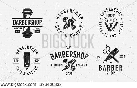 Barber Shop Vintage Hipster Logo Templates. 6 Retro Logo Templates For Barber Shop, Haircut's Salon.