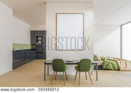 Mockup Canvas Over Dining Table In Green Living Room Apartment Studio. Open Space Hall Room With Fra