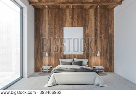 Bed In Wooden White Living Room And Blank Frame Mockup, A Large Window In Sleeping Room With White B