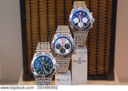 Dortmund, Germany - September 16, 2020: Breitling Watches Displayed In A Shop Window In Dortmund, Ge