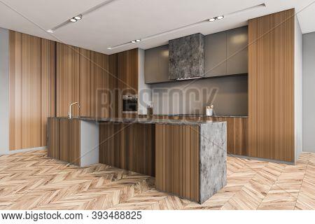 Minimalist Wooden Kitchen Set In New Modern Apartment, Side View, Open Space Kitchen On Parquet Floo
