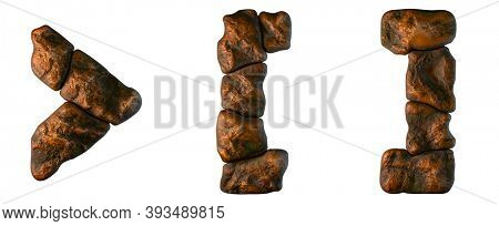 Set of rocky symbols right angle bracket, left and right square bracket . Font of stone on white background. 3d rendering