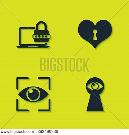 Set Laptop With Password, Keyhole Eye, Eye Scan And Heart Keyhole Icon. Vector