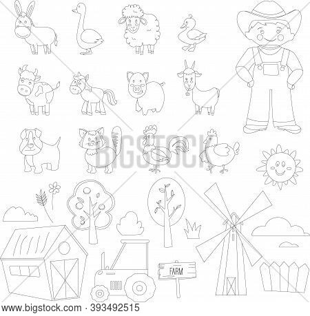 Set Of Farm Animals For Coloring, Colorless Isolated Vector Illustrations In Flat Style - Cow, Pig,