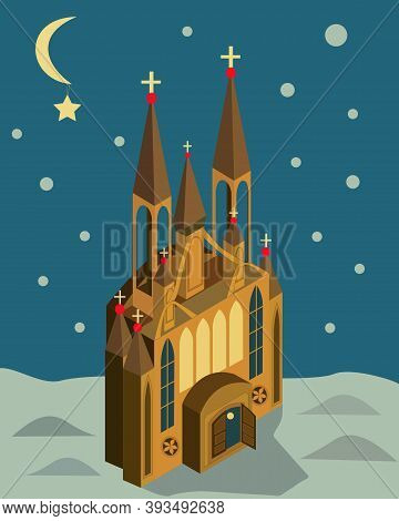 Church On A Moonlit Night For Christmas, Sketch For New Year's Holiday, Vector