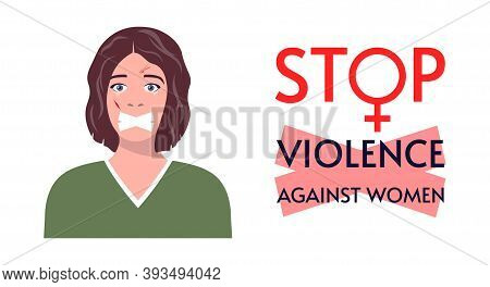 Abuse Or Domestic Violence Concept. A Woman In Tears And With Traces Of Beating On Her Face. Social