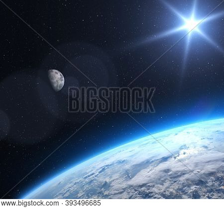 Blue Planet Earth And Moon In Deep Space.science Fiction Wallpaper. Elements Of This Image Furnished