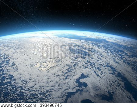 Earth In The Space. View Of Planet Earth From Space. Elements Of This Image Furnished By Nasa.