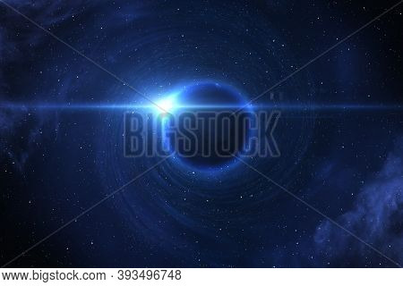 Black Hole Devours Star. Black Hole, Nebula And Galaxy In Deep Outer Space. Elements Of This Image F