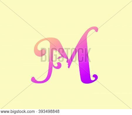 Beauty Letter M Logo Icon. Beautiful Woman's Face Shape On Letter.  Abstract Design Concept For Beau