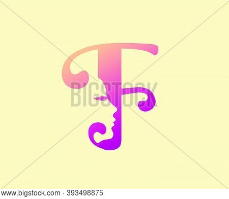 Beauty Letter F Logo Icon. Beautiful Woman's Face Shape On Letter.  Abstract Design Concept For Beau