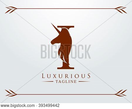 Capital Letter I With A Unicorn. Royal Logo. King Stallion In Jump. Unicon Letter Icon. Stylish Grap