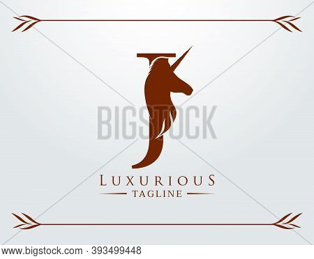 Capital Letter J With A Unicorn. Royal Logo. King Stallion In Jump. Unicon Letter Icon. Stylish Grap