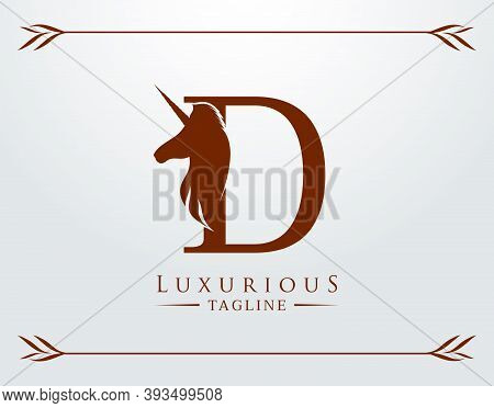 Capital Letter D With A Unicorn. Royal Logo. King Stallion In Jump. Unicon Letter Icon. Stylish Grap