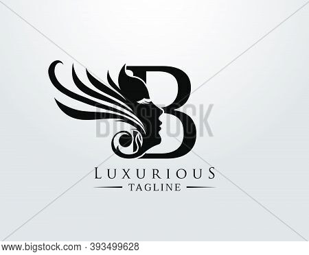 Letter B With Beauty Face. Luxury Logo. Alphabetical Symbol For Wedding, Greeting Cards, Invitations