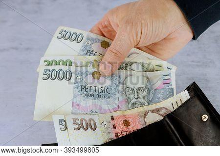 Czech Korun That A Man Takes Out Of His Wallet, Czech Republic Banknotes