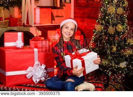 Present Concept. Child Enjoy Celebration New Year Present. Season To Giving Presents For Loved Ones.