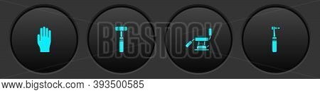 Set Medical Rubber Gloves, Neurology Reflex Hammer, Dental Chair And Tooth Drill Icon. Vector