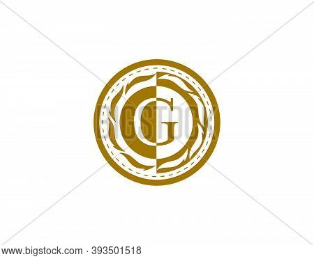 Royal Badge Letter G Logo. Luxury Gold Calligraphic Emblem With Beautiful Classic Floral Ornament. C