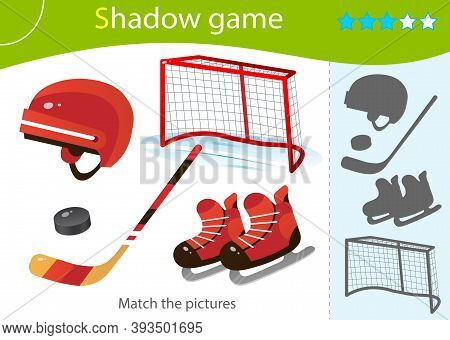 Shadow Game For Kids. Match The Right Shadow. Color Image Of Cartoon Skates With Helmet, Stick And P