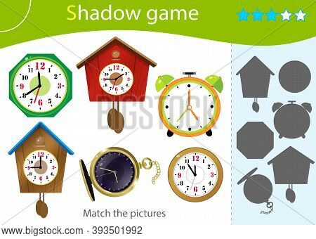 Shadow Game For Kids. Match The Right Shadow. Color Images Of Watches. Alarm Clock, Wall Clock With