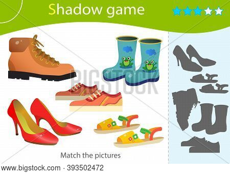 Shadow Game For Kids. Match The Right Shadow. Color Images Of Cartoon Shoes. Sports Sneakers, Childr