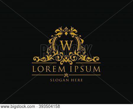 Royal Boutique Badge With W Letter Logo.classy Elegant Badge Design For Boutique, Royalty, Letter St