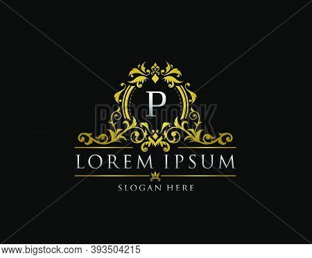 Royal Boutique Badge With P Letter Logo.classy Elegant Badge Design For Boutique, Royalty, Letter St