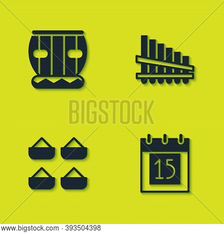 Set Instrument Tabla, Independence Day India, Indian And Pan Flute Icon. Vector