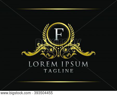 Luxury Boutique F Letter Logo. Luxury Badge Gold Design For Boutique, Royalty, Letter Stamp,  Hotel,