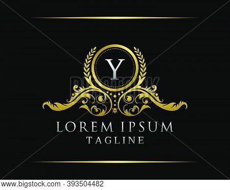 Luxury Boutique Y Letter Logo. Luxury Badge Gold Design For Boutique, Royalty, Letter Stamp,  Hotel,