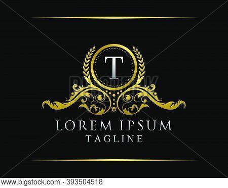 Luxury Boutique T Letter Logo. Luxury Badge Gold Design For Boutique, Royalty, Letter Stamp,  Hotel,