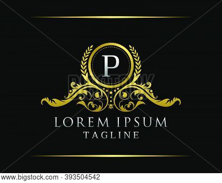 Luxury Boutique P Letter Logo. Luxury Badge Gold Design For Boutique, Royalty, Letter Stamp,  Hotel,