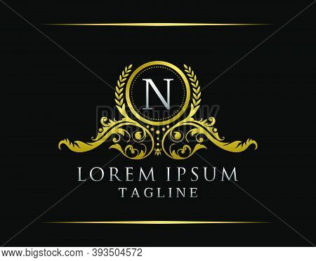 Luxury Boutique N Letter Logo. Luxury Badge Gold Design For Boutique, Royalty, Letter Stamp,  Hotel,