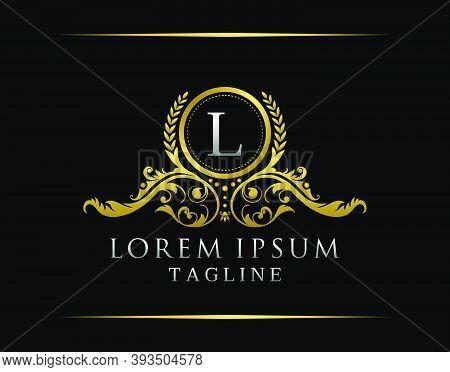 Luxury Boutique L Letter Logo. Luxury Badge Gold Design For Boutique, Royalty, Letter Stamp,  Hotel,